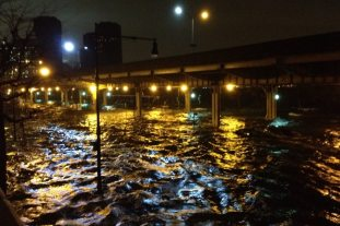 Flooding from the East River to under the FDR Drive and beyond (Photographer unknown)