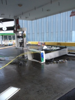 Sandy: 1, Gulf gas station: 0 (Photo by Dan Garodnick.)
