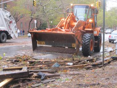 The cleanup process begins around Stuyvesant Town. (Photo by Ingrid Devita.)