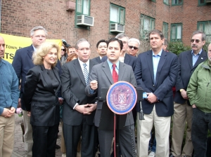 """Local politicians and """"Roberts"""" attorney Alexander Schmidt in Stuyvesant Town after the Appellate Court win in 2009."""