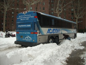 A bus gets stuck in the snow during the blizzard of December, 2010.Photo by Sabina Mollot
