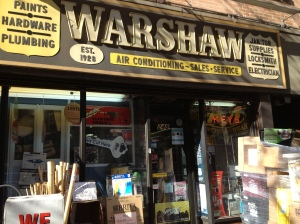Despite what the sign says, Warshaw Hardware has been open for business since 1925, not 1928. (Photo by Sabina Mollot)