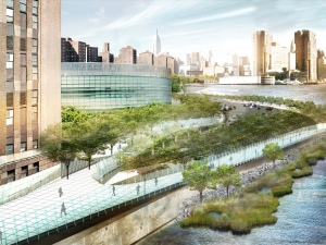 Plans for the East River Blueway include a footbridge that would also serve as a seawall. (Rendering by  WXY Architecture + Urban Design)