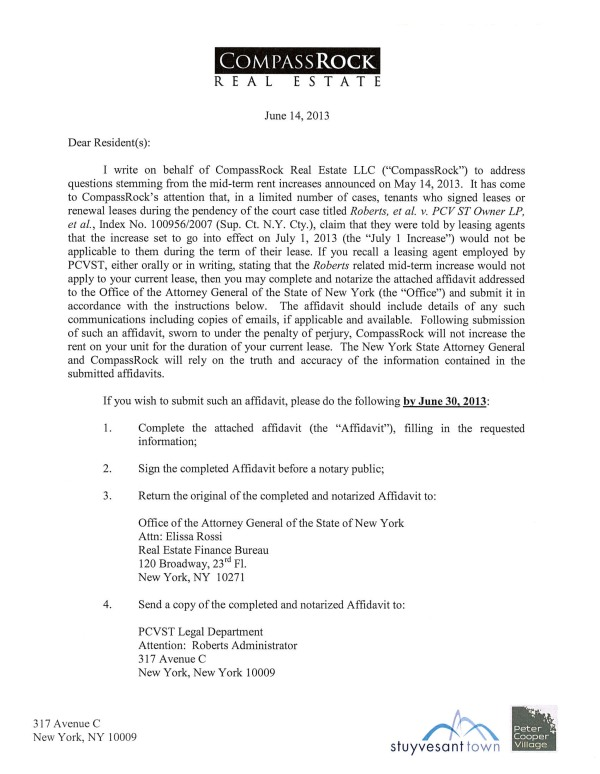 Letter issued by CompassRock