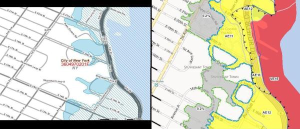 (left) Screenshot of FEMA's 2012 flood hazard zone map (right) FEMA's preliminary flood hazard zone map for 2013