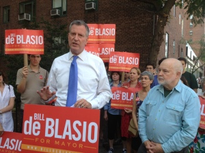 Mayoral candidate Bill de Blasio and Mike McKee of TenantsPAC at Stuyvesant Town on Monday (Photo by Sabina Mollot)
