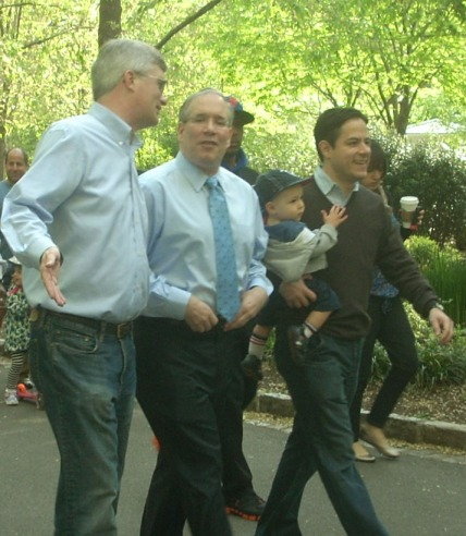 Borough President Scott Stringer, pictured with Assembly Member Brian Kavanagh and Council Member Dan Garodnick, marching in the Peter Stuyvesant Little League Parade in April  Photo by Sabina Mollot