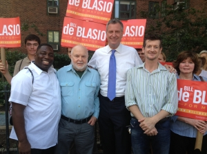 Bill de Blasio (center) in Stuy Town with TenantsPAC Board Member Anderson Fils-Aime, Treasurer Mike McKee, Board Member (and ST-PCV Tenants Association President) John Marsh and Tenants Association Board Member Margaret Salacan (Photo by Sabina Mollot)