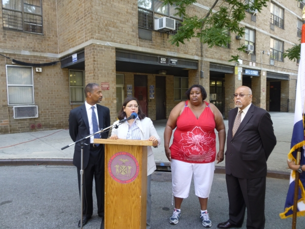 Council Member Rosie Mendez at Campos Plaza, where residents recently got a security camera system Photo by Sabina Mollot