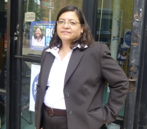 Council Member Rosie Mendez in front of her campaign office