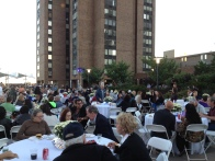 Guests sit outside on the Plaza. (Photo by Sabina Mollot)