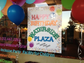 A sign in the storefront of Waterside business Creative Dream party space (Photo by Sabina Mollot)