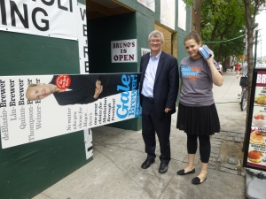 Assemblyman Brian Kavanagh and staffer Anna Pycior campaign for Gale Brewer outside Stuy Town on Tuesday. (Photo by Sabina Mollot)