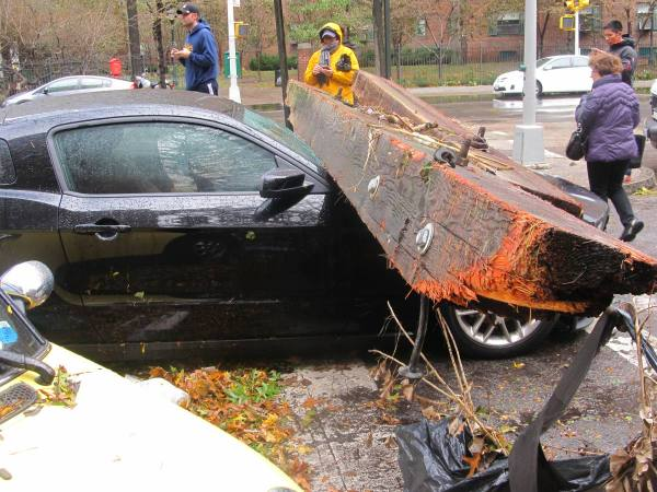 Damaged car in Stuyvesant Town (Photo by Ingrid Devita)