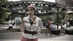 LuLu LoLo as a telephone operator on Union Square.