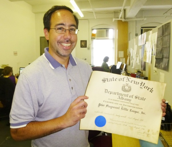 Peter Stuyvesant Little League President Peter Ramos at the Town & Village office (Photo by Sabina Mollot)