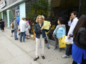 Susan Steinberg, chair of the ST-PCV Tenants Association, pictured at a protest against mid-lease rent increases in May, said the Tenants Association will soon hold a meeting on the latest MCIs. (Photo by Sabina Mollot)