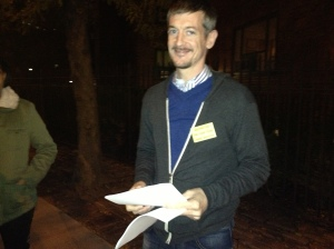 Tenants Association President John Marsh hands out fliers on the MCIs. (Photo by Sabina Mollot)
