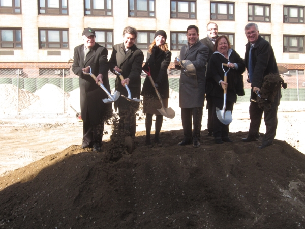 Local politicians and Parks reps break ground at a Wednesday morning ceremony. (Pictured Parks Department Manhattan Borough Commissioner William Castro, State Senator Brad Hoylman, Parks Commissioner Veronica White, Council Member Dan Garodnick, Community Board 6 Chair Sandro Sherrod, State Senator Liz Krueger and Assemblyman Brian Kavanagh (Photo by Maria Rocha-Buschel)