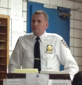 Deputy Inspector Dave Ehrenberg at the 13th Precinct (Photo by Maria Rocha-Buschel)