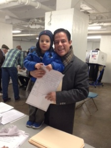 Council Member Dan Garodnick, shown with son Asher at his polling place in Peter Cooper, was reelected. (Photo courtesy of Dan Garodnick)