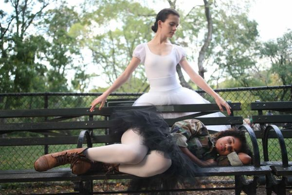 "Sarah Macken and Afinatou Thiam in ""The Shell-Shocked Nut,"" to be performed by the East Village Dance Studio (Photo by High Burckhardt)"