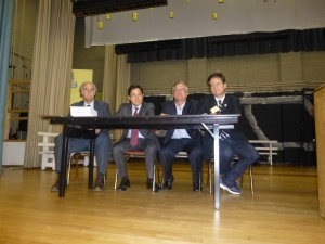 Council Member Dan Garodnick (second to left) with Assembly Member Brian Kavanagh and State Senator Brad Hoylman pictured at a January meeting of the ST-PCV Tenants Association meeting, with (far left0 TA attorney Tim Collins
