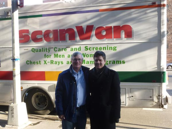 Assembly Member Brian Kavanagh and State Senator Brad Hoylman at a mammogram event in December