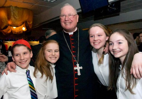 Cardinal Timothy Dolan with Epiphany students during a 125th anniversary event for the school (Photos by Mollie O'Mara)