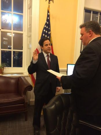 Council Member Garodnick as pictured getting sworn in for his third term (Photo by Genevieve Michel)