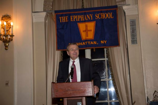 Epiphany School's principal of 35 years, Jim Hayes, at a 125th anniversary event for alumni in November (Photo courtesy of Epiphany School)