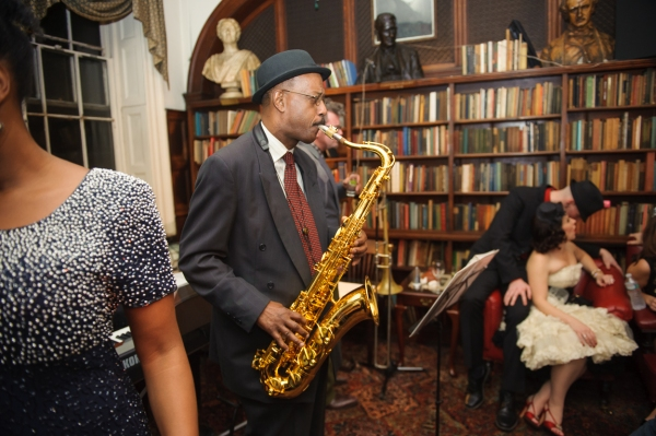 Saxophone player Patience Higgins plays with Queen Esther and the Hot Five in the Library Lounge. (Photo by Jane Kratochvil)