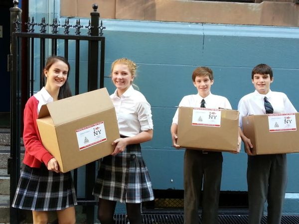 Epiphany students at a food drop event (Photo courtesy of Epiphany School)
