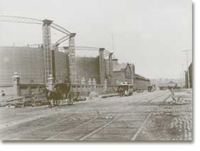 The gas works and storage tanks of Con Ed's predecessor company in 1890.     Photo courtesy of Con Ed