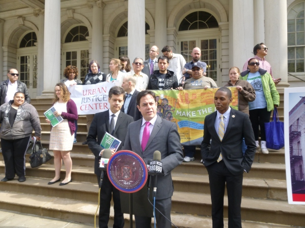 At City Hall, Councilman Garodnick cited Stuyvesant Town as a prime example of predatory equity, a practice that has continued throughout the city. (Photo by Sabina Mollot)