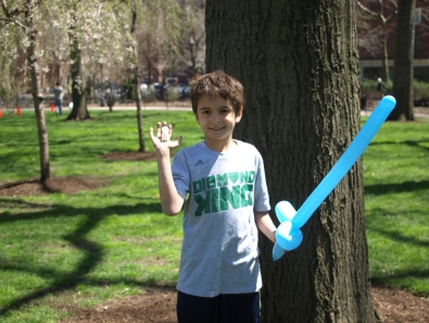 Nine-year-old Evan shows off his prize: a 3D printed squirrel