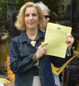 ST-PCV Tenants Association Chair Susan Steinberg, pictured at a rally in May against mid-lease rent increases (Photo by Sabina Mollot)