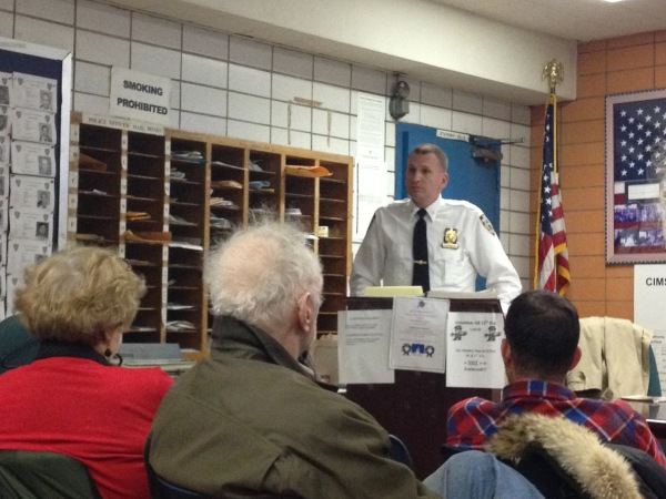 Deputy Inspector David Ehrenberg, pictured at a recent meeting of the 13th Precinct Community Council (Photo by Maria Rocha-Buschel)