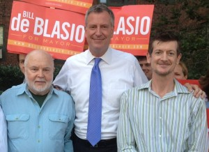 Mayor de Blasio, then a candidate, was endorsed by TenantsPAC in Stuyvesant Town last August. Pictured with de Blasio is Tenants PAC Treasuer Mike McKee on the mayor's right and ST-PCV Tenants Association President John Marsh (also a TenantsPAC member) to his left.