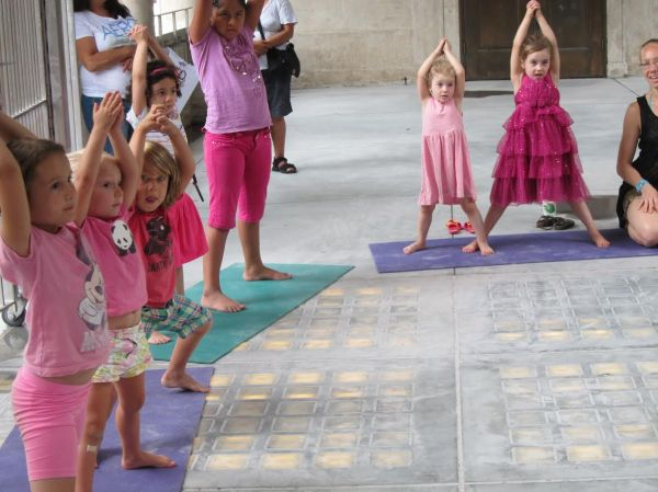Children's yoga classes are part of the Summer in the Square free event series that begins on Thursday, June 12. (Photo courtesy of the Union Square Partnership)