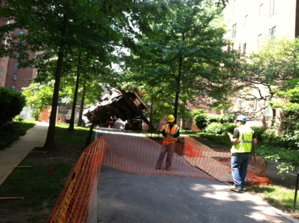 A truck fell on its side on a Stuyvesant Town construction site.