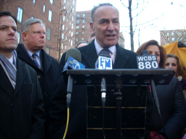 Senator Chuck Schumer with other elected officials at a rally in Stuyvesant Town in 2010 (Photo by Sabina Mollot)