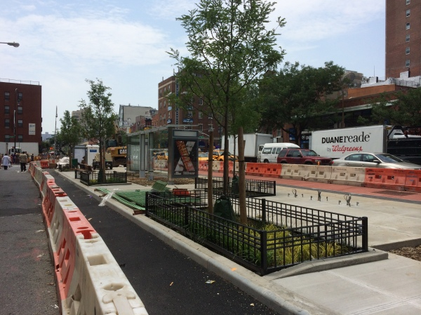 Bus stop construction site on First Avenue and 14th Street (Photo by Sabina Mollot)