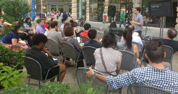 General Assembly will once again present tech workshops at the Flatiron South Plaza. (Pictured) A workshop held last year (Photo courtesy of Flatiron/23rd Street BID)