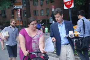 State Senator Brad Hoylman, in Stuyvesant Town on Friday, distributes fliers about the groping incidents. (Photo by Laura Morrison/Senator Hoylman)
