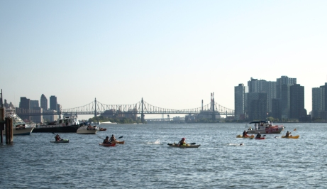 Safety boats and kayaks at the Rose Pitonof Swim last Saturday (Photo by Maria Rocha-Buschel)