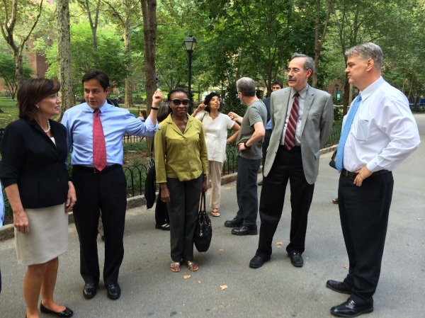 Kathy Hochul gets an earful from tenants and local elected officials during a walk through the complex. (Pictured) Council Member Dan Garonick introduces her to Public Safety Chief Bill McClellan. (Photo by Sabina Mollot)