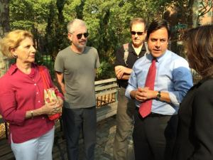 Hochul (right) listens to tenants, including Tenants Association Chair Susan Steinberg and Council Member Dan Garodnick, discuss quality of life issues and dwindling affordability in Stuy Town. (Photo by Sabina Mollot)