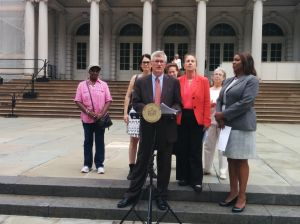 Assemblyman Brian Kavanagh held a press conference about the DRIE income limit increase on July 24, just moments before the City Council gave its blessing to the increase. Kavanagh is pictured with Manhattan Borough President Gale Brewer, Public Advocate Letitia James, Ellen Davidson of Legal Aid and Council Member Helel Rosenthal