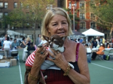 Carol Schachter with her rescued Chihuahua Trippie